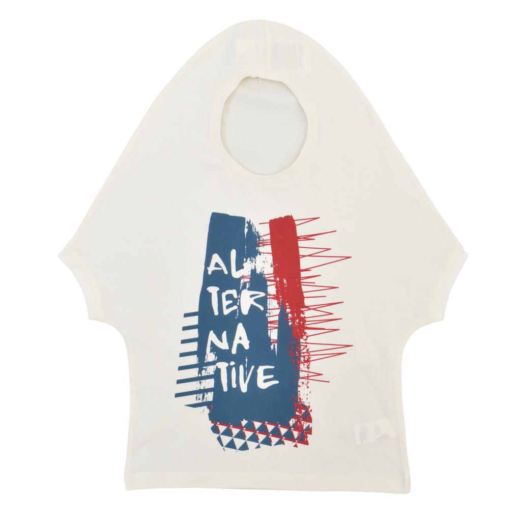 Детска оригинална блуза с имитация на качулка с щампа екрю