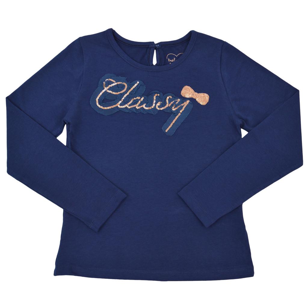 Блуза с надпис и панделка от пайети тъмно синя