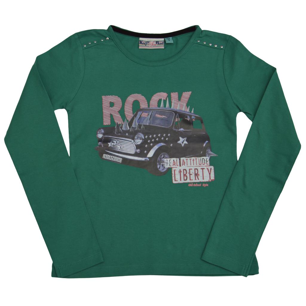 Блуза с кабси и щампа кола зелена