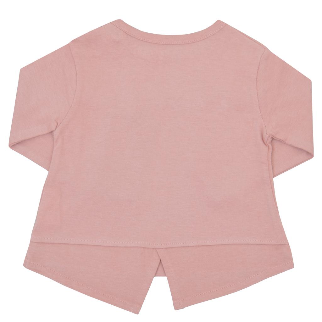 Блузка дълъг ръкав с дантелка и платки розова