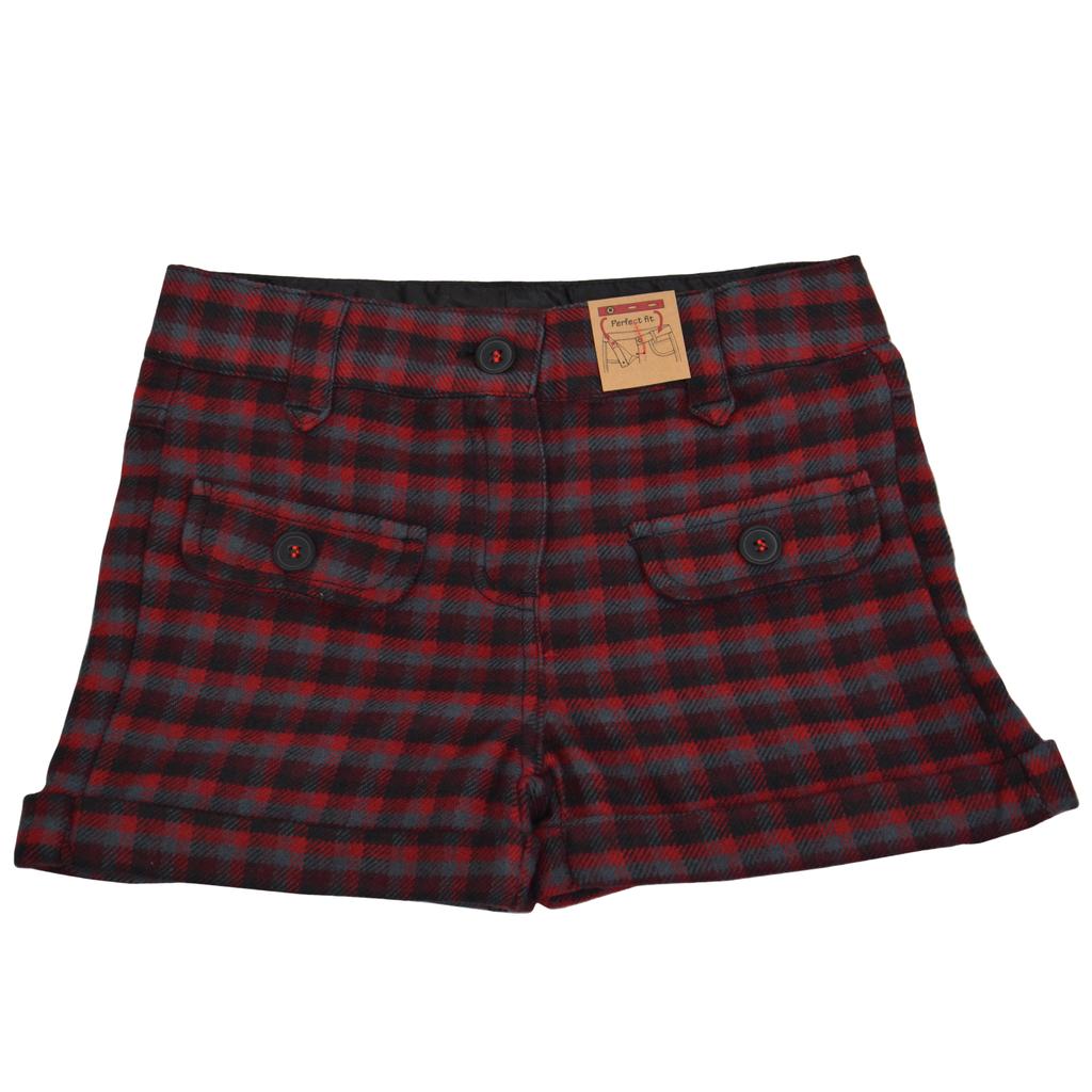 Карирани къси панталонки червени