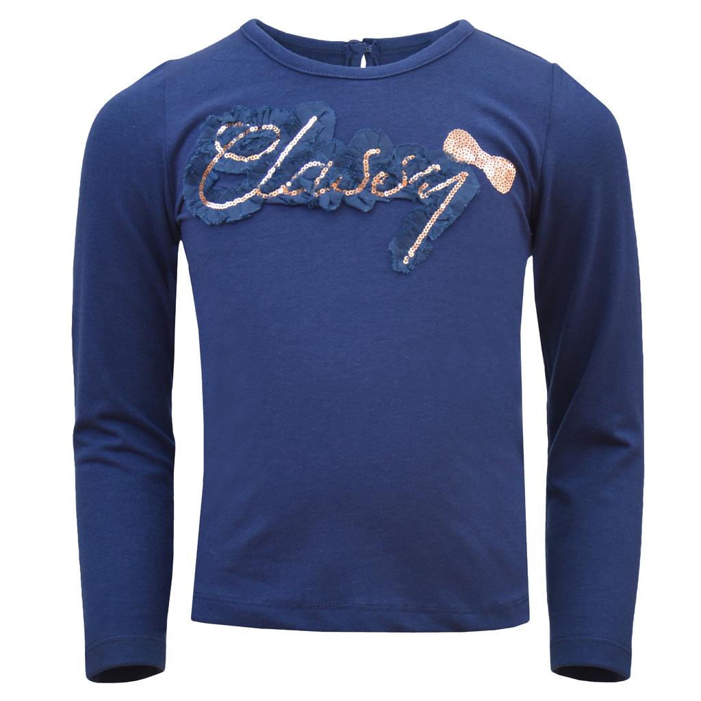 Блуза с надпис от бляскави пайети и къдри тъмно синя
