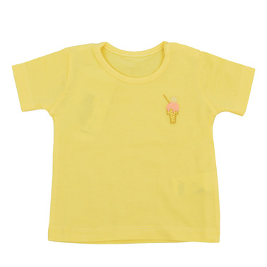 Тениска с бродиран сладолед и копчета жълта