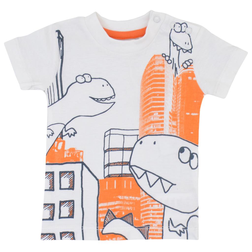 Комплект тениска и къси панталонки с динозаври син