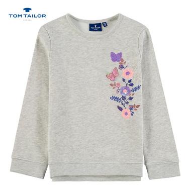 Спортна ватирана блуза Tom Tailor с цветя и пеперуди сив меланж