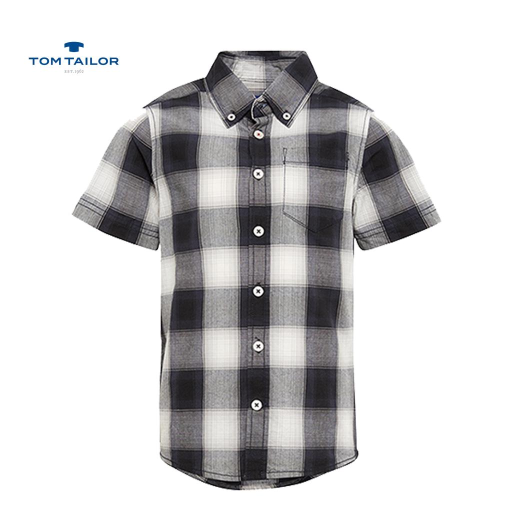 Риза Tom Tailor с къс ръкав и джобче сива