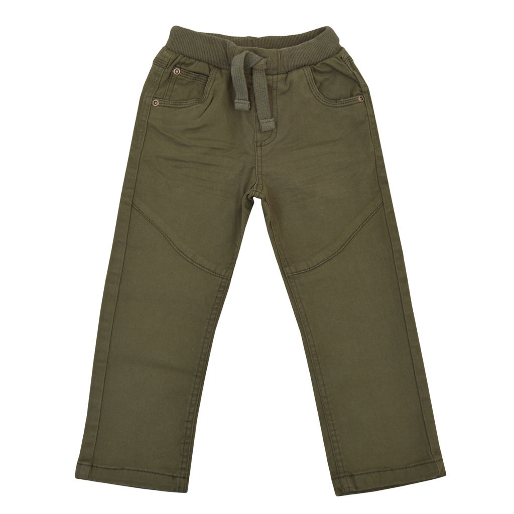 Спортен памучен панталон с ластик и връзка каки