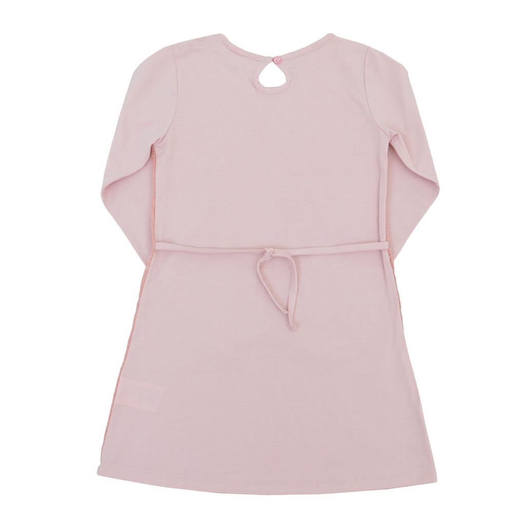 Елегантна детска рокля с плетена мрежа отпред и връзки розова
