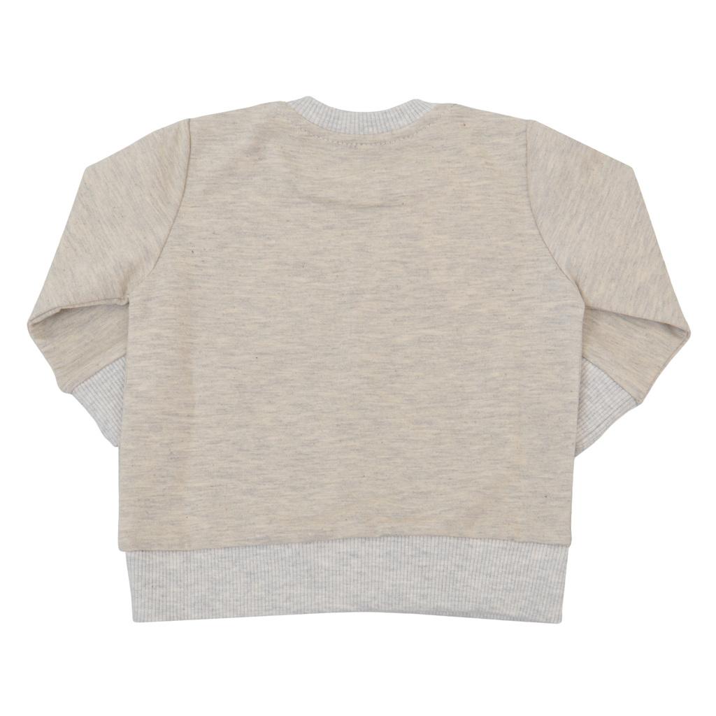 Спортна блуза с мече и нестандартен джоб светъл меланж