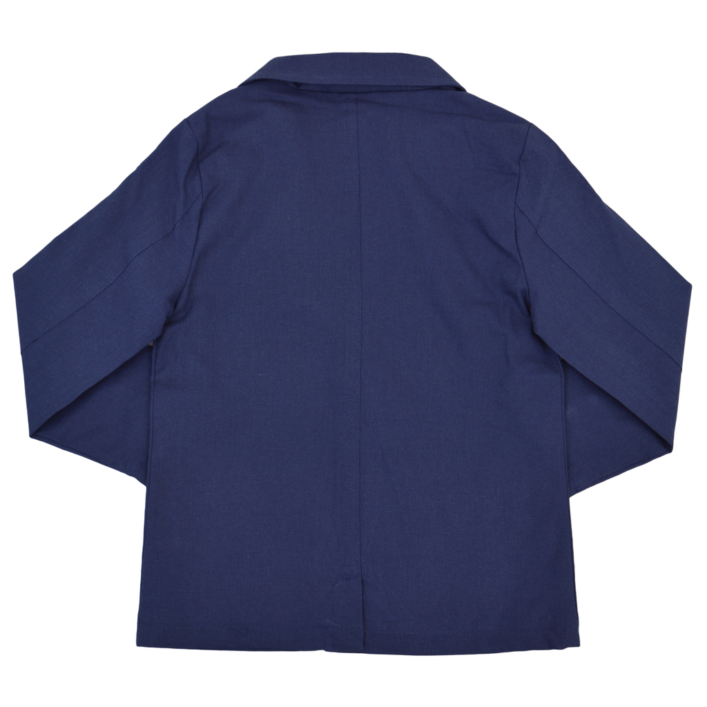 Стилно сако от лен и коприна с джобове тъмно синьо