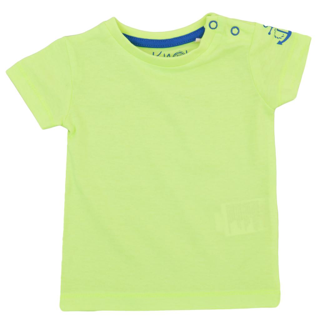Тениска в ярък цвят с котва и копчета жълта
