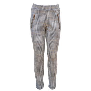 Клин-панталон на карета с бляскави нишки и джобчета светло сив