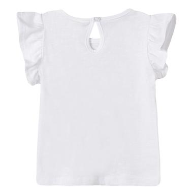Блузка Newness с къдрички и морска щампа в бяло