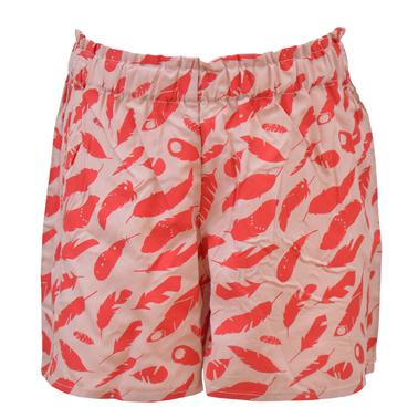 Панталонки от вискоза с контрастни пера бежово-розови