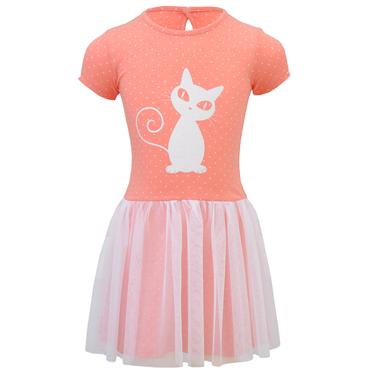 Трикотажна рокля с тюл и брокатено коте в цвят праскова