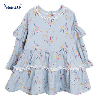 Стилна рокля на листенца с волани от Newness синя