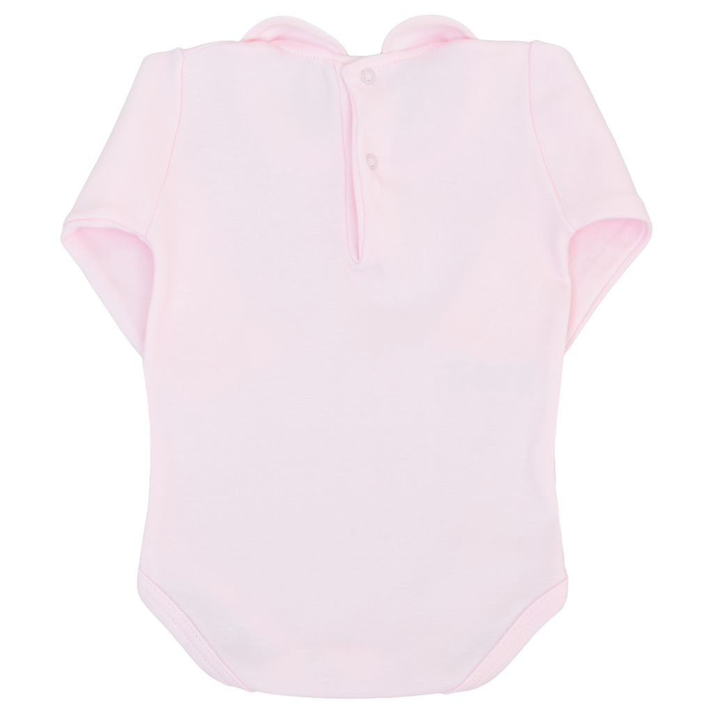 Памучно бебешко боди с яка розово