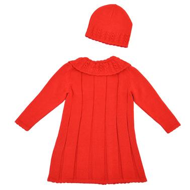 Детска жилетка-манто в комплект с шапка с цвете червен