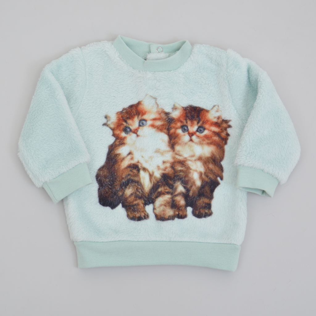 Бебешки пухкав пуловер с котета зелен