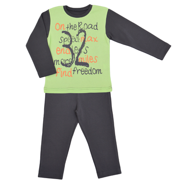 Детска есенна пижама с надписи тъмно сива