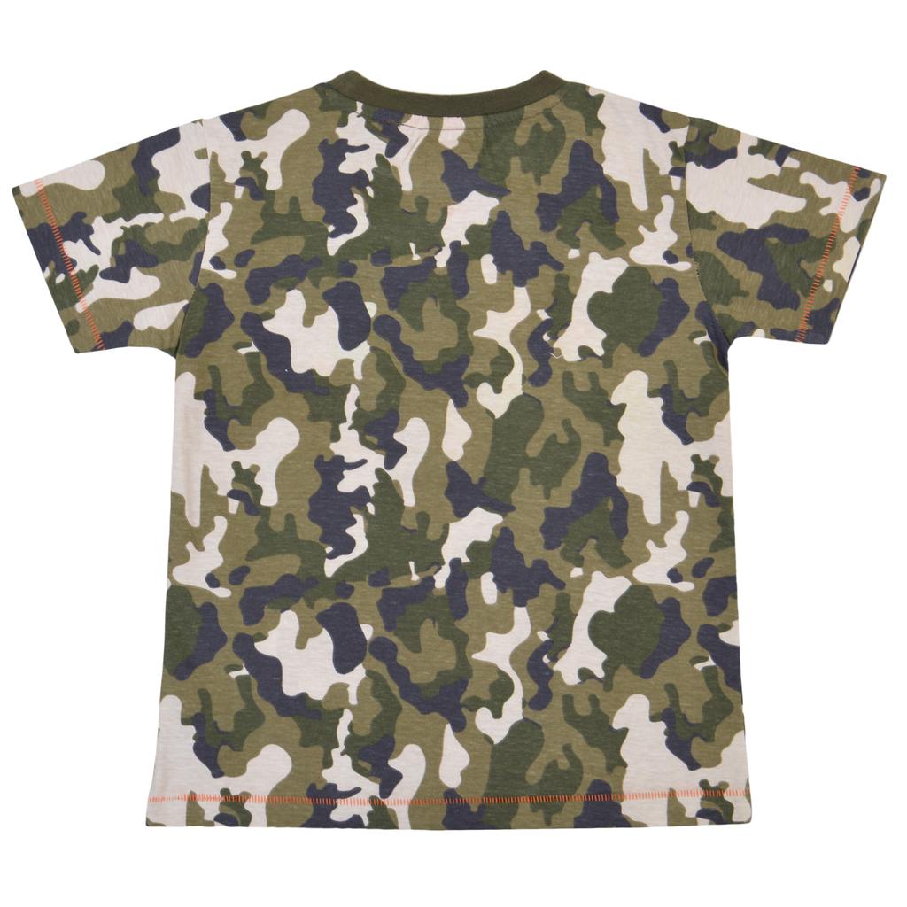 Камуфлажна тениска с ярък релефен надпис каки