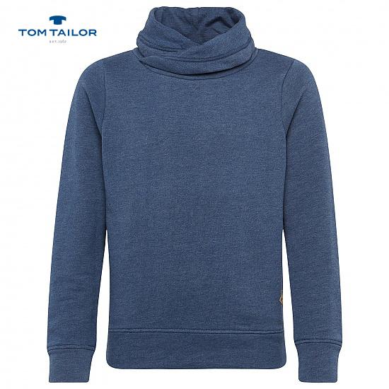 Раирана блуза с шал яка Tom Tailor синя