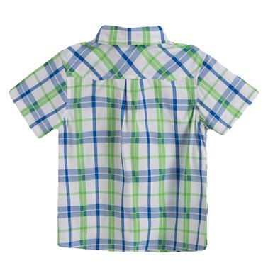 Ризка Newness с къс ръкав в свежо каре с джобче зелена