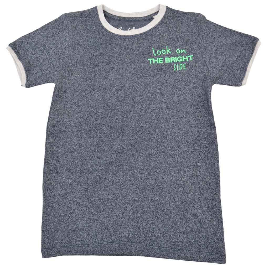 Тениска с контрастен надпис и светло обкантване в светъл меланж