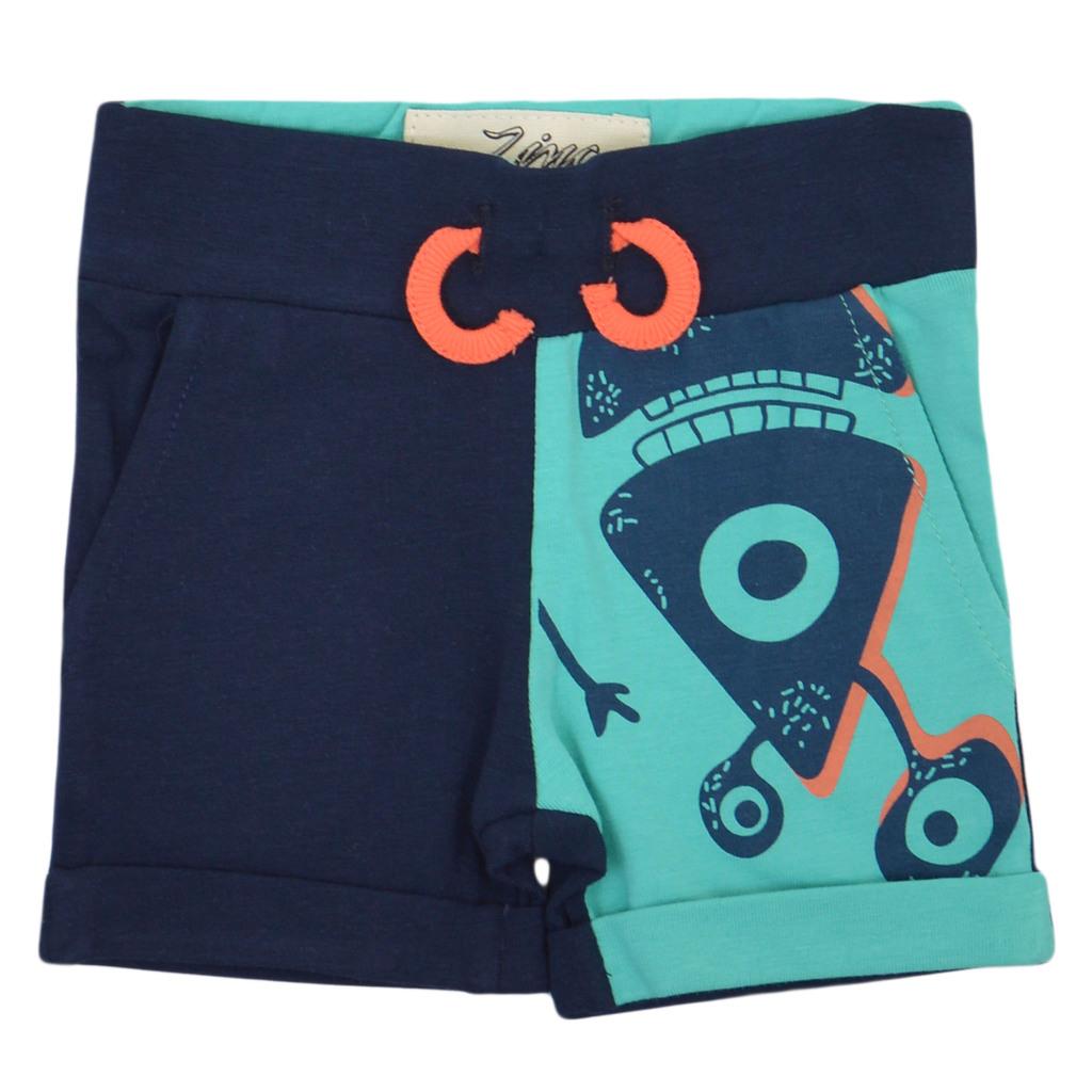 Летен комплект с тениска и къси панталонки с чудовища резеда