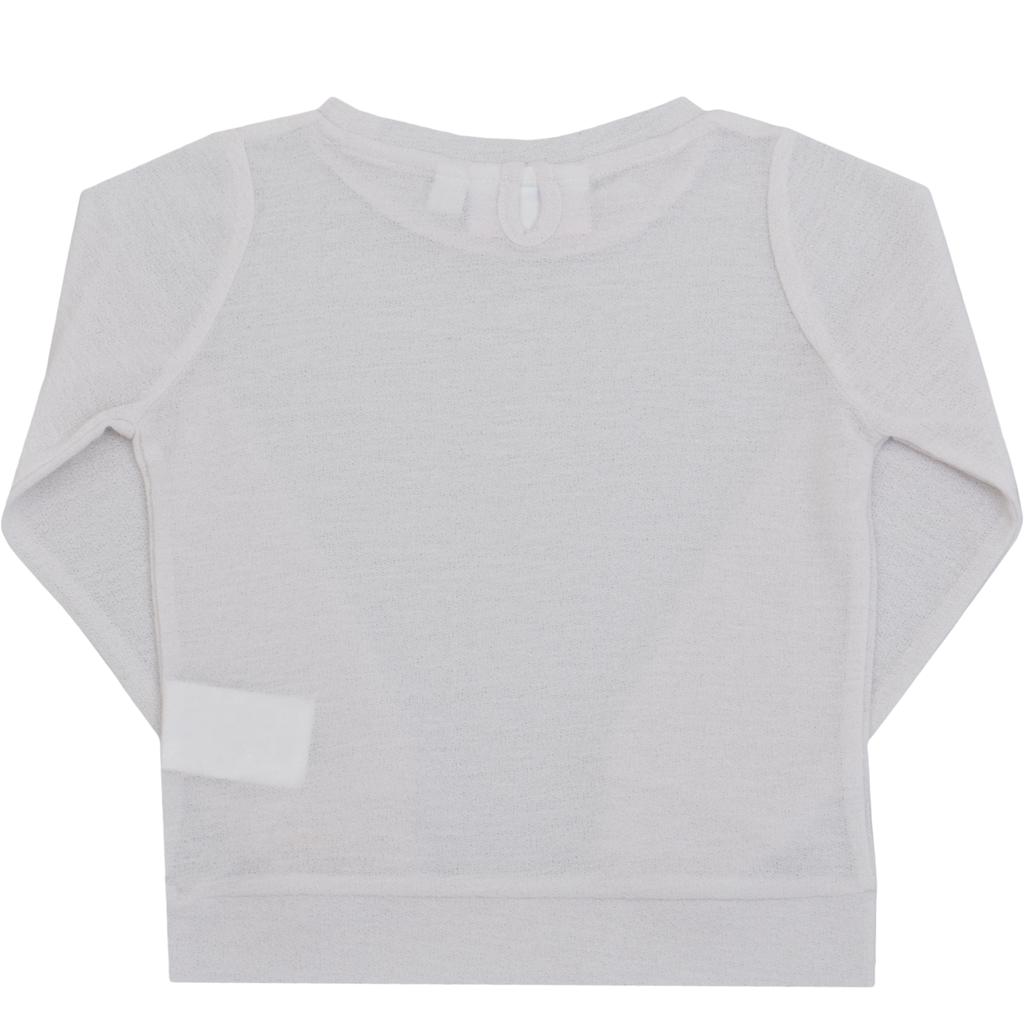 Ефирна пролетна едноцветна  блуза в бяло