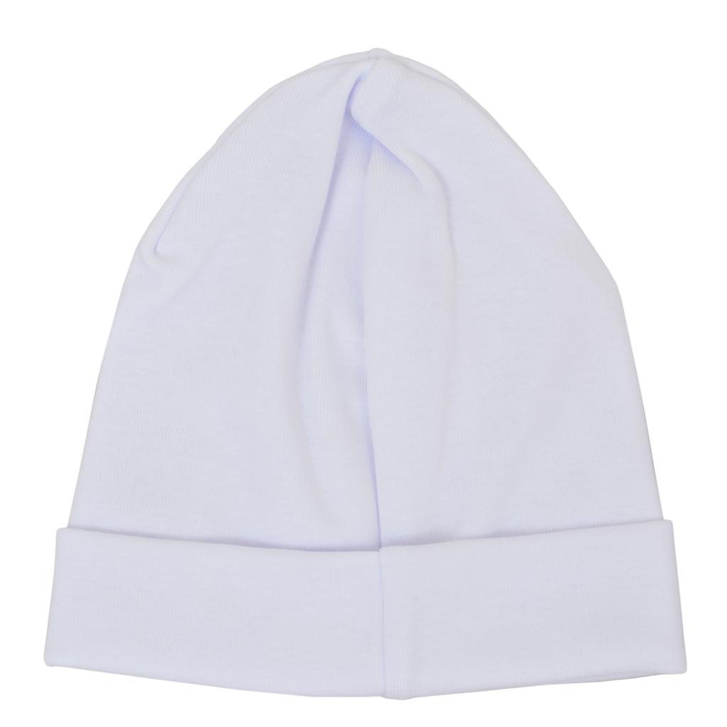 Трикотажна памучна шапка с лого ''Точици''  бяла