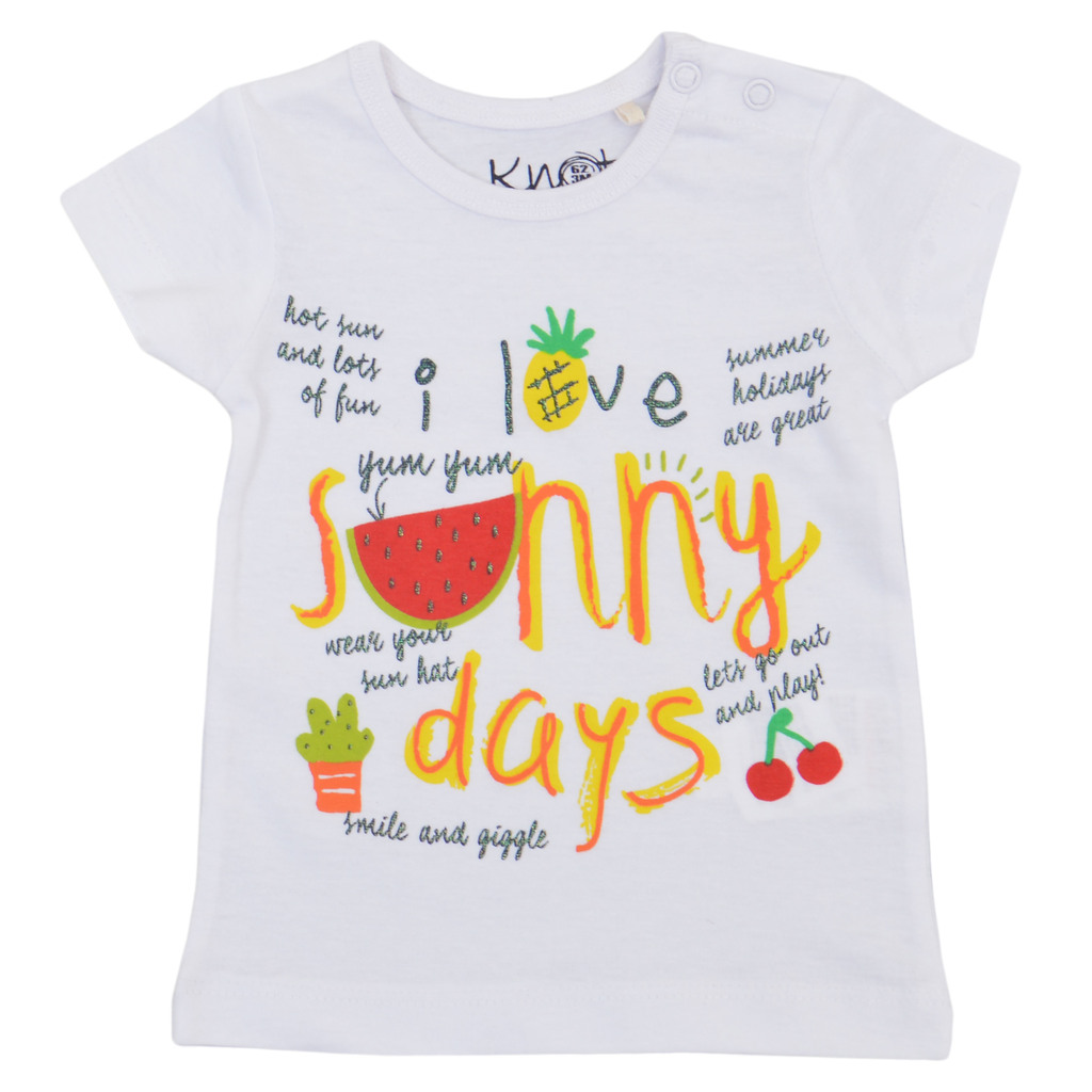 Комплект тениски с плодове и брокат в бяло