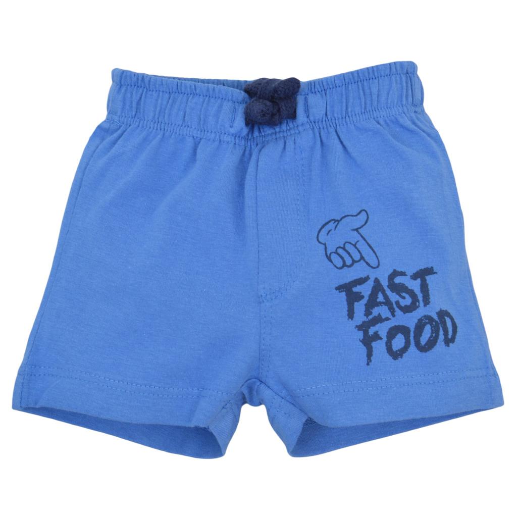 Къси панталонки с ластик и щампа отпред сини