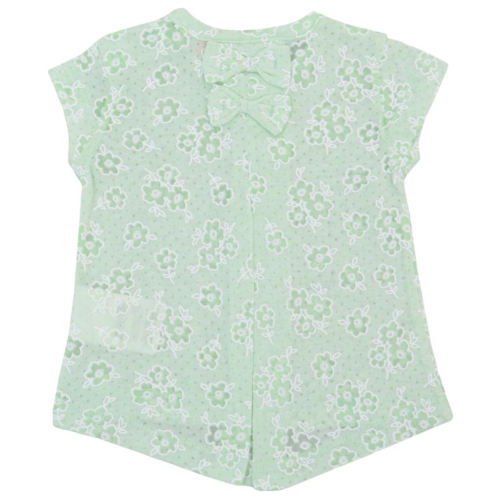 Бебешка туника с цветя и панделки зелена