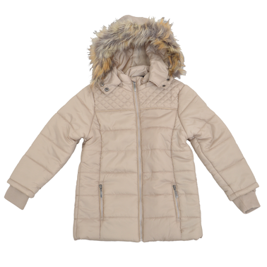 Зимно ватирано детско яке с качулка с пух бежово