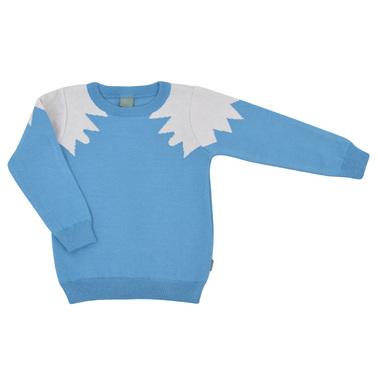 Плетен детски пуловер светло син