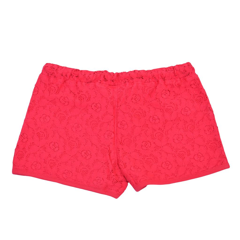 Дантелени къси панталони с подплата и връзка малина