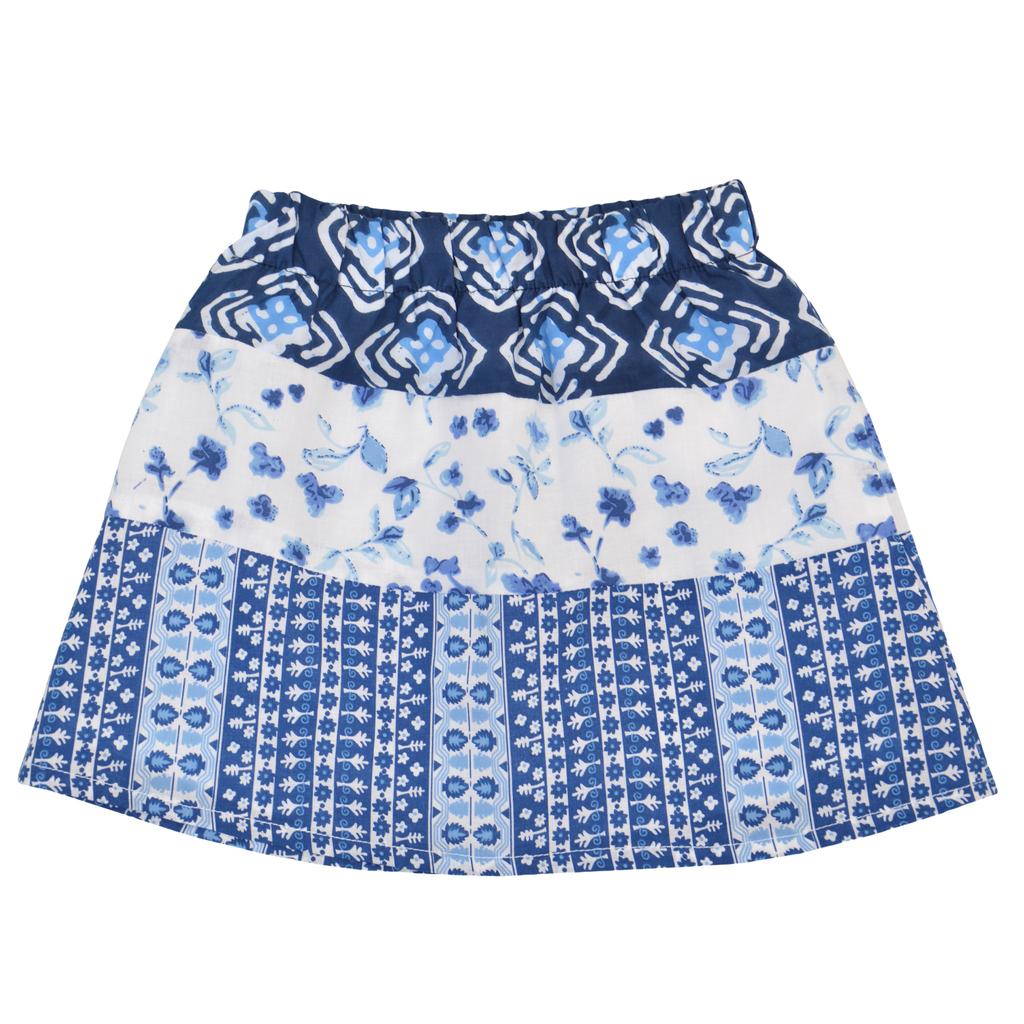 Детска лятна пола с ластик с етно елементи синя