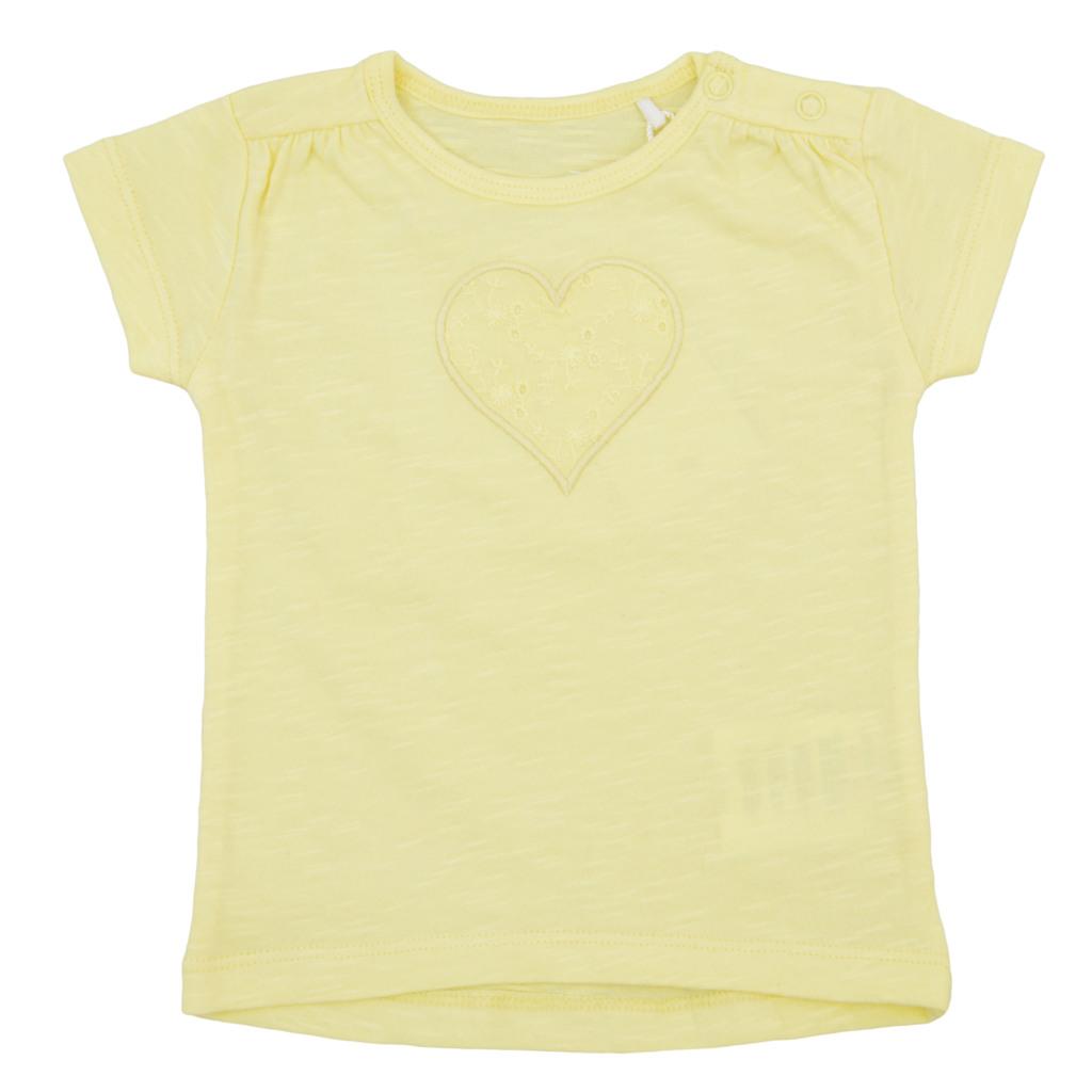 Блуза с къс ръкав и бродирано сърце в жълт цвят