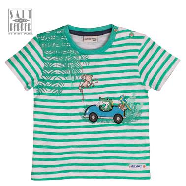 Тениска с диви животни от Salt & Pepper в зелено райе