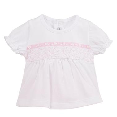 Летен сет от блузка с рязана талия и гащи с релеф в розово