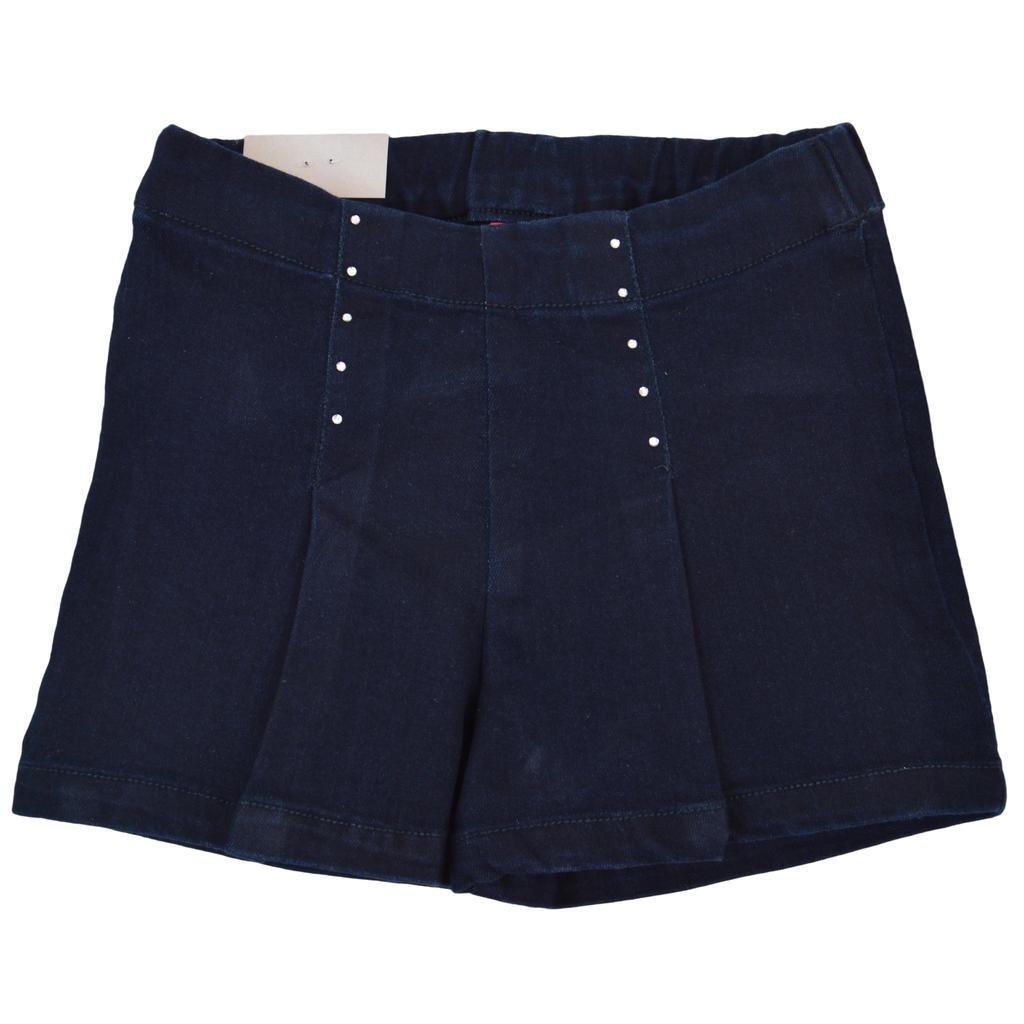 Еластични къси панталонки с камъчета и басти в тъмно синьо