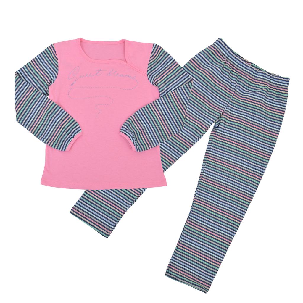 Пижама на райета с нестандартно деколте розова