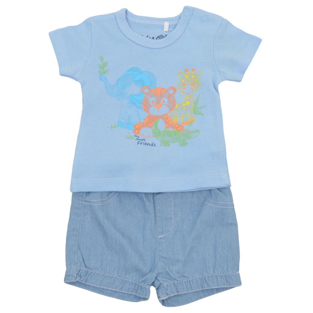Летен комплект с дънкови панталонки и щампа на животни светло син