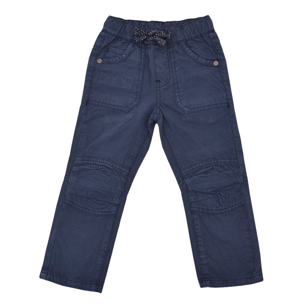 Панталон дълъг крачол с джобове и връзка тъмно син