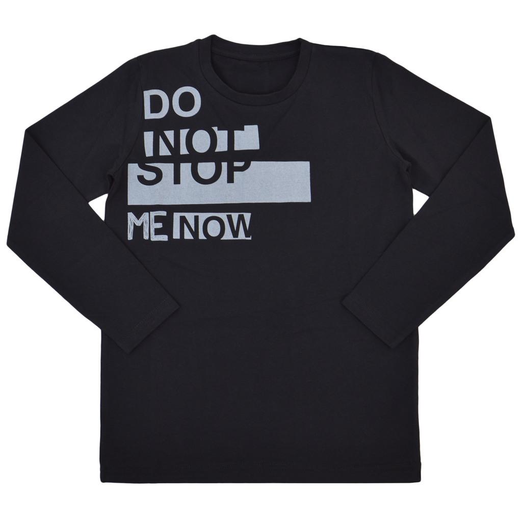 """Блуза """"Do not stop me now"""" с дълъг ръкав черна"""
