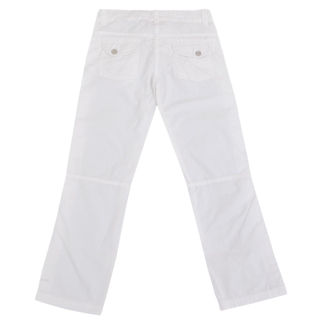 Дълъг пролетен панталон с емблема бял