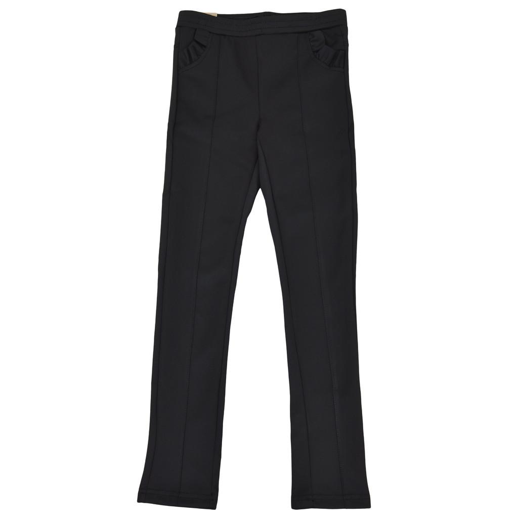 Модерен клин-панталон с къдрички и шев на крачолите черен