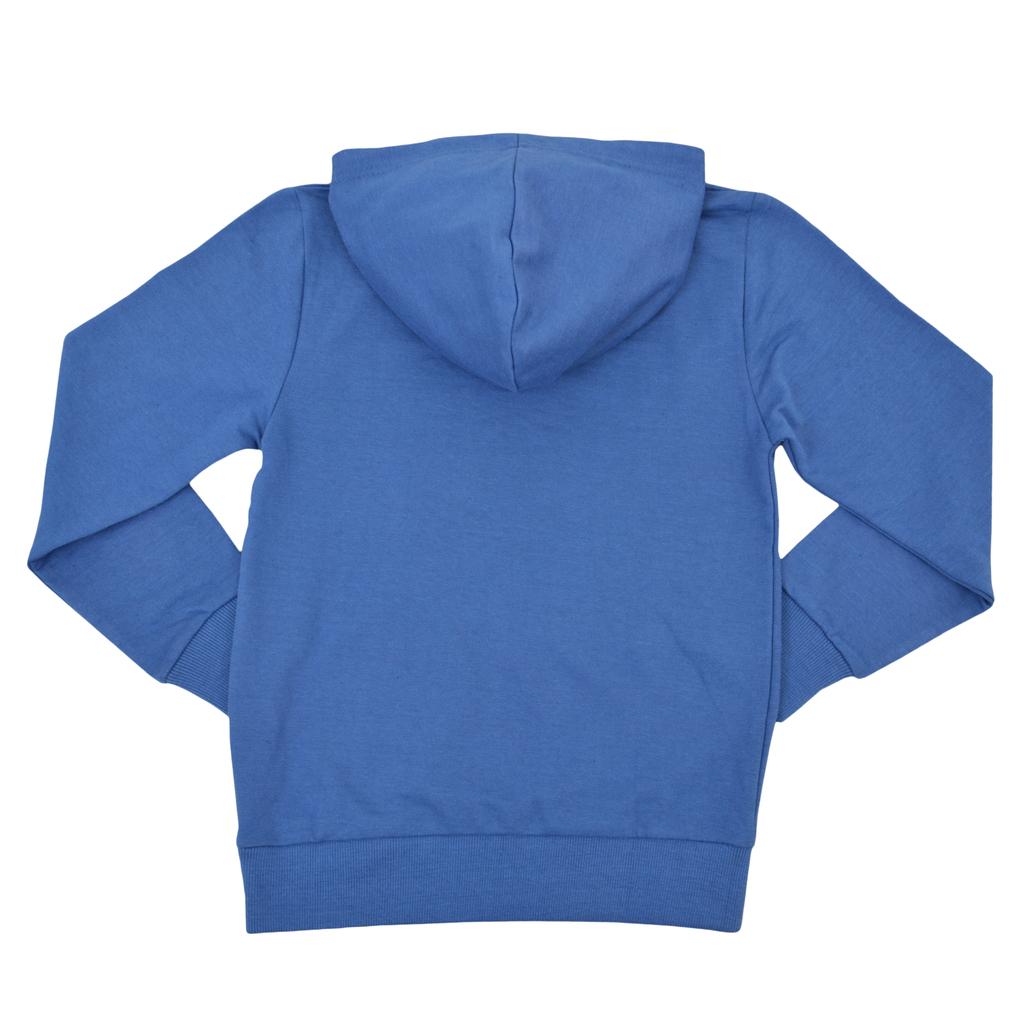 Спортна блуза с качулка и весел надпис синя