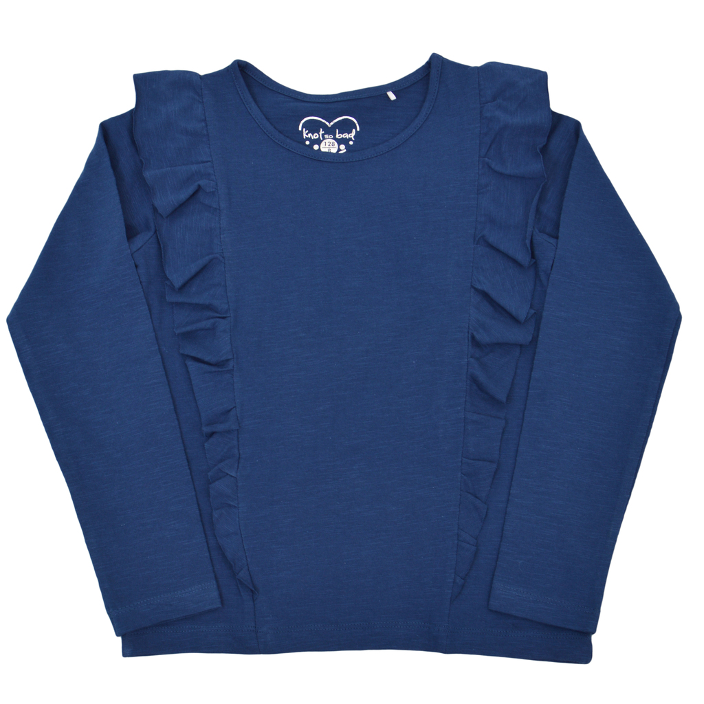 Блуза дълъг ръкав с асиметрични шевове и къдри синя